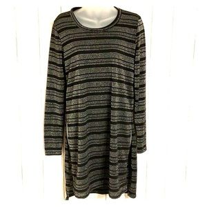 Micheal Stars Exaggerated Slit Striped Tunic